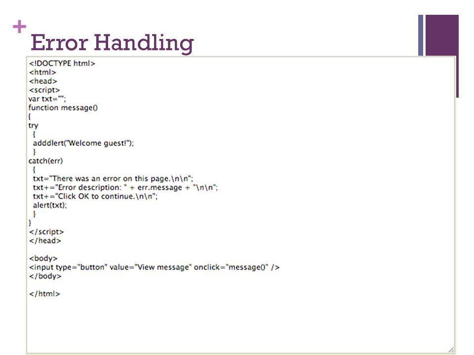+ Error Handling
