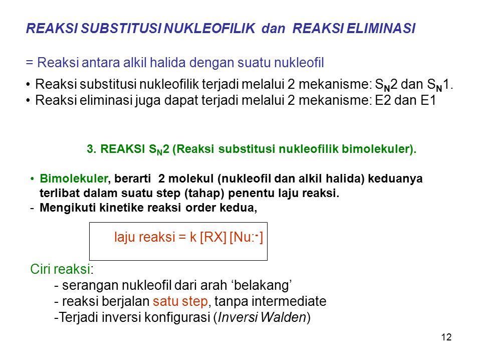 12 REAKSI SUBSTITUSI NUKLEOFILIK dan REAKSI ELIMINASI = Reaksi antara alkil halida dengan suatu nukleofil Reaksi substitusi nukleofilik terjadi melalu