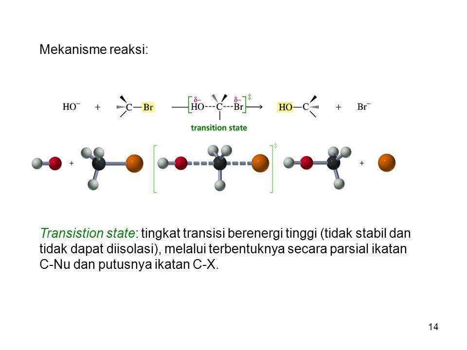 14 Mekanisme reaksi: Transistion state: tingkat transisi berenergi tinggi (tidak stabil dan tidak dapat diisolasi), melalui terbentuknya secara parsia
