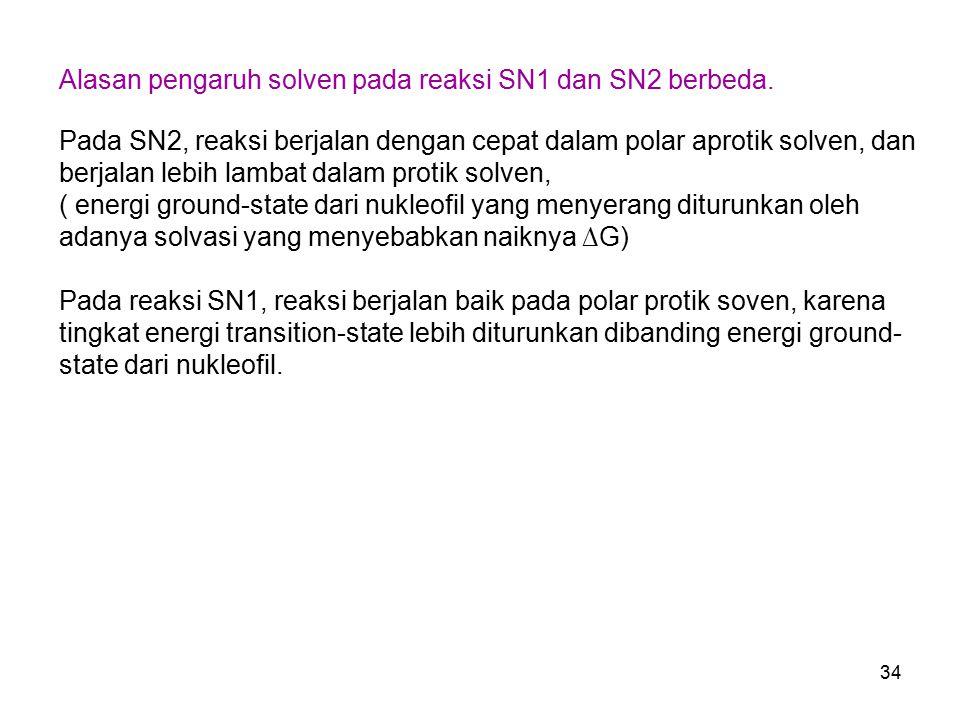34 Alasan pengaruh solven pada reaksi SN1 dan SN2 berbeda. Pada SN2, reaksi berjalan dengan cepat dalam polar aprotik solven, dan berjalan lebih lamba