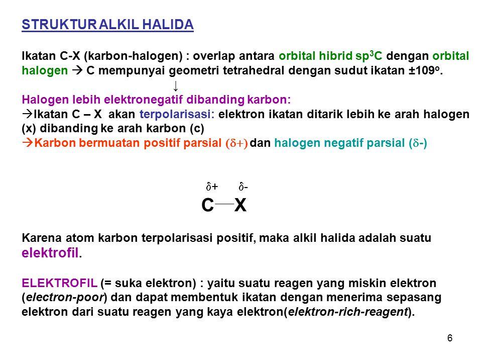 6 STRUKTUR ALKIL HALIDA Ikatan C-X (karbon-halogen) : overlap antara orbital hibrid sp 3 C dengan orbital halogen  C mempunyai geometri tetrahedral d
