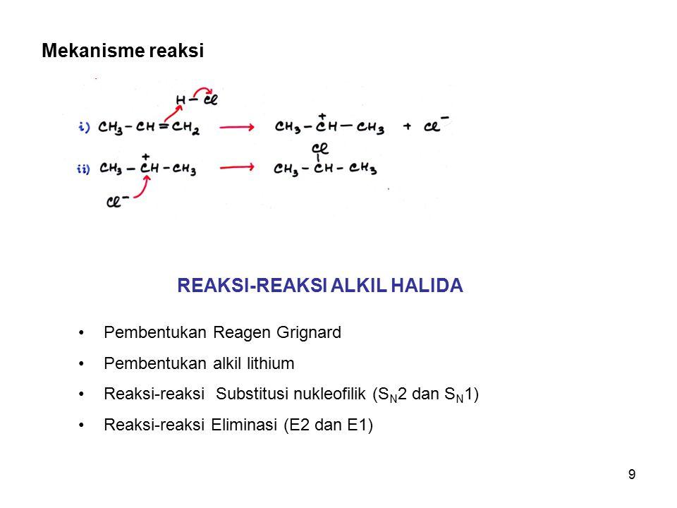 9 REAKSI-REAKSI ALKIL HALIDA Pembentukan Reagen Grignard Pembentukan alkil lithium Reaksi-reaksi Substitusi nukleofilik (S N 2 dan S N 1) Reaksi-reak