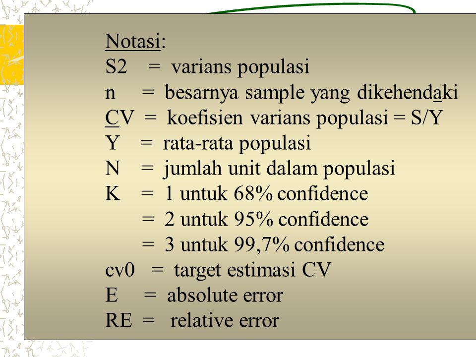 2 (dalam probability sampling) Dengan mempertimbangkan: Akurasi, Praktis, dan Efisiensi Penentuan besaran sample (n):