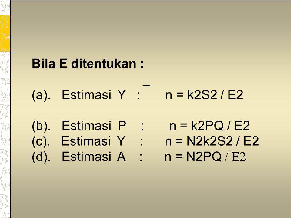 3 Notasi: S2 = varians populasi n = besarnya sample yang dikehendaki CV = koefisien varians populasi = S/Y Y = rata-rata populasi N = jumlah unit dalam populasi K = 1 untuk 68% confidence = 2 untuk 95% confidence = 3 untuk 99,7% confidence cv0 = target estimasi CV E = absolute error RE = relative error