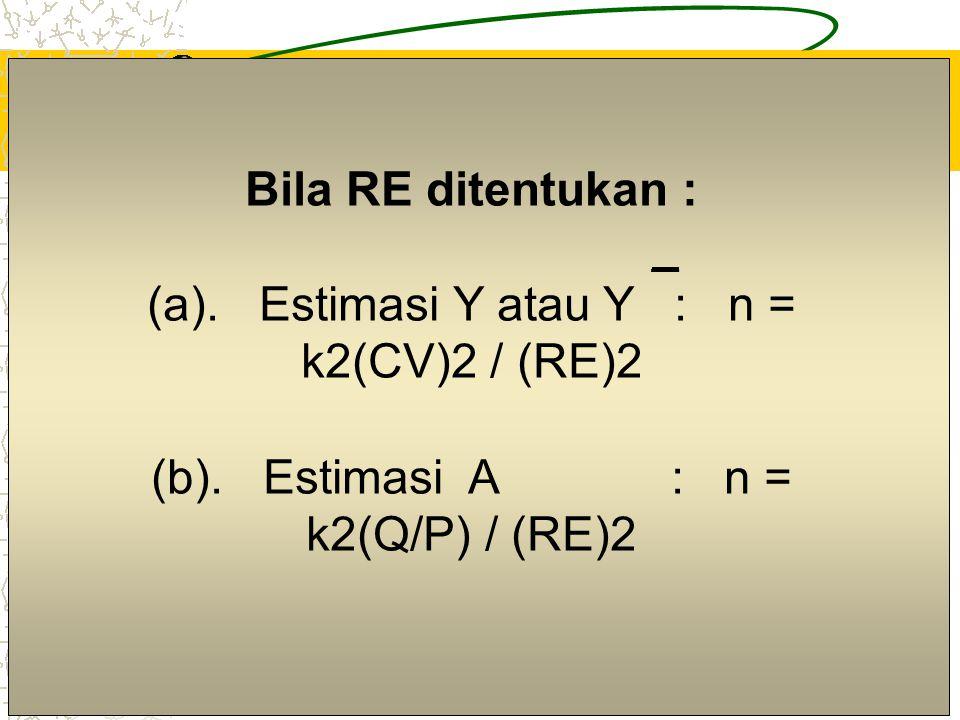 4 Bila E ditentukan : _ (a). Estimasi Y : n = k2S2 / E2 (b).