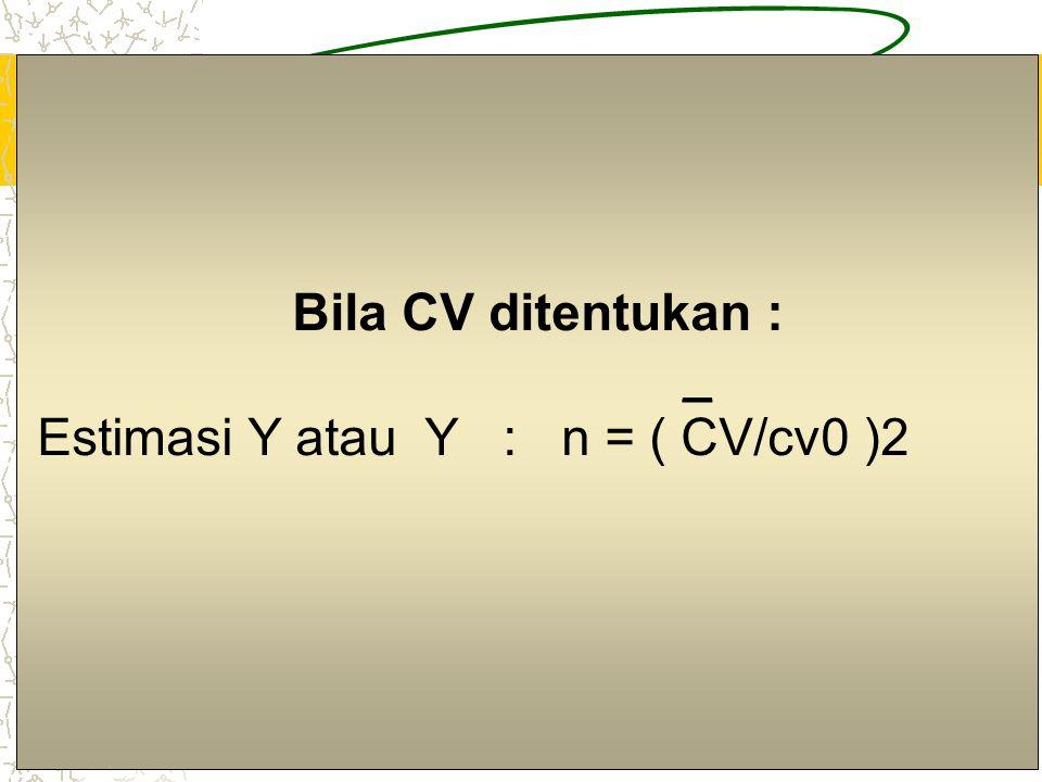 5 Bila RE ditentukan : _ (a). Estimasi Y atau Y : n = k2(CV)2 / (RE)2 (b). Estimasi A : n = k2(Q/P) / (RE)2