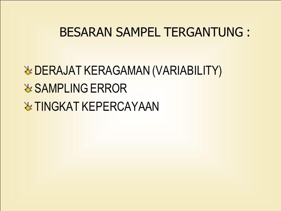 6 Bila CV ditentukan : _ Estimasi Y atau Y : n = ( CV/cv0 )2