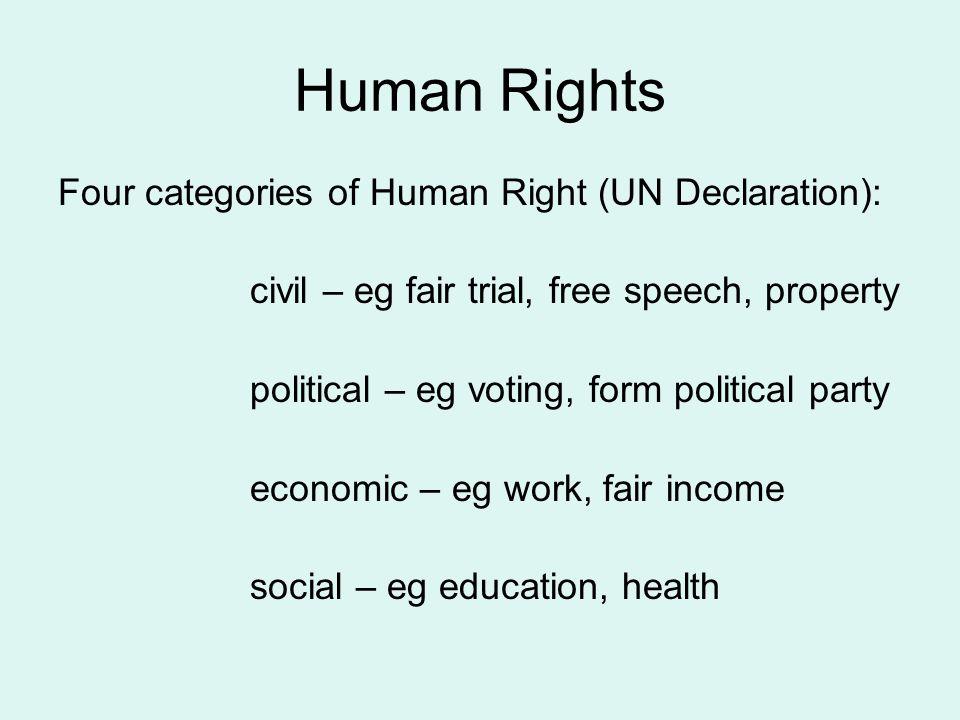 Human Rights Four categories of Human Right (UN Declaration): civil – eg fair trial, free speech, property political – eg voting, form political party