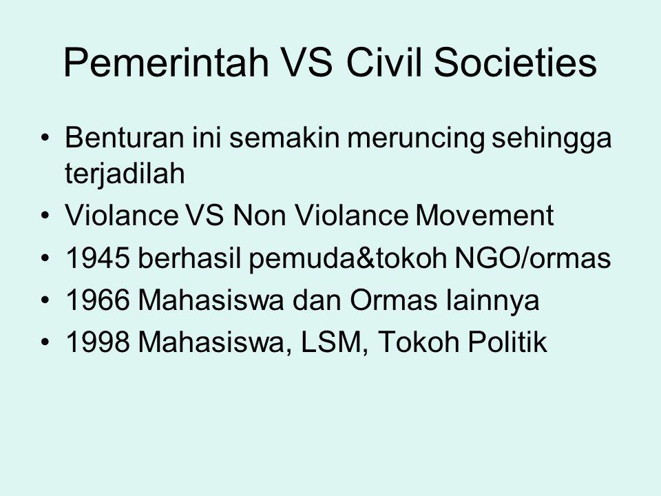 Pemerintah VS Civil Societies Benturan ini semakin meruncing sehingga terjadilah Violance VS Non Violance Movement 1945 berhasil pemuda&tokoh NGO/orma