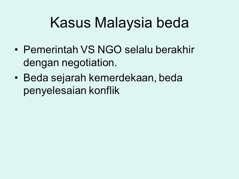 Kasus Malaysia beda Pemerintah VS NGO selalu berakhir dengan negotiation. Beda sejarah kemerdekaan, beda penyelesaian konflik