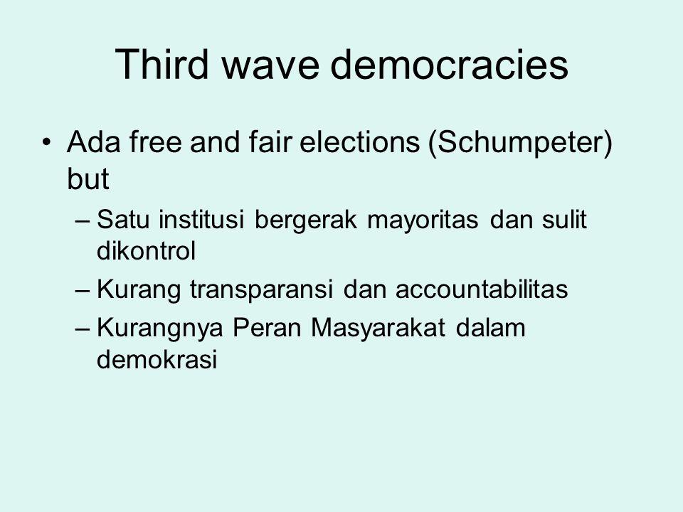 Third wave democracies Ada free and fair elections (Schumpeter) but –Satu institusi bergerak mayoritas dan sulit dikontrol –Kurang transparansi dan ac