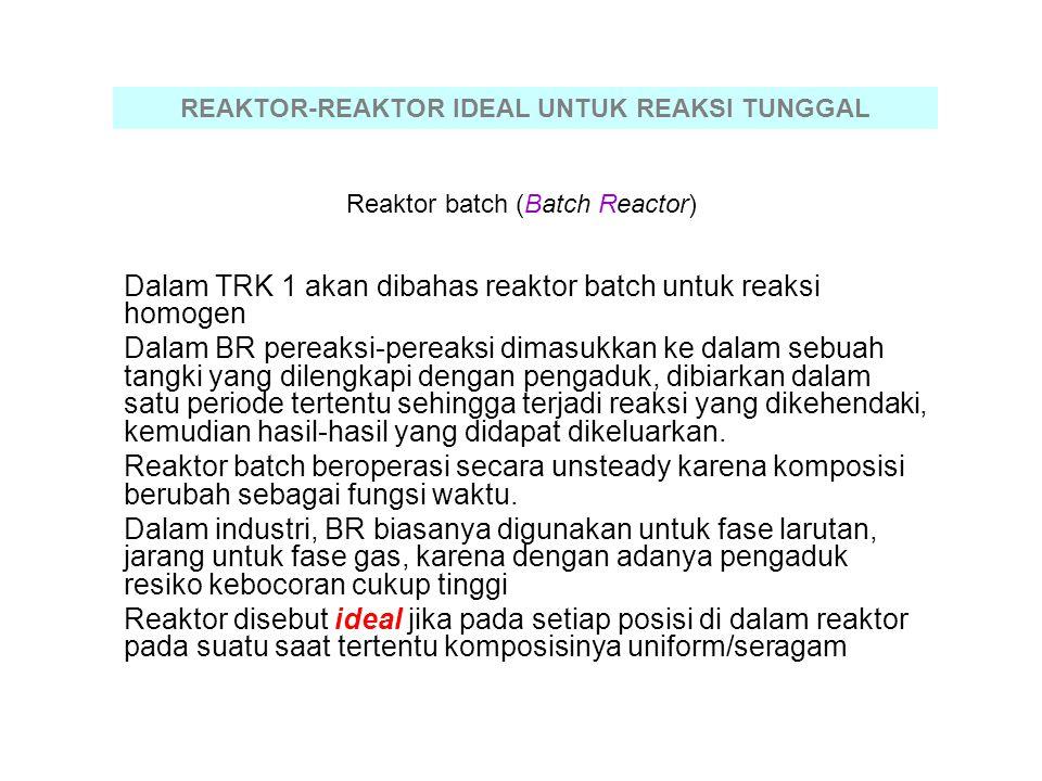Reaktor batch (Batch Reactor) Dalam TRK 1 akan dibahas reaktor batch untuk reaksi homogen Dalam BR pereaksi-pereaksi dimasukkan ke dalam sebuah tangki