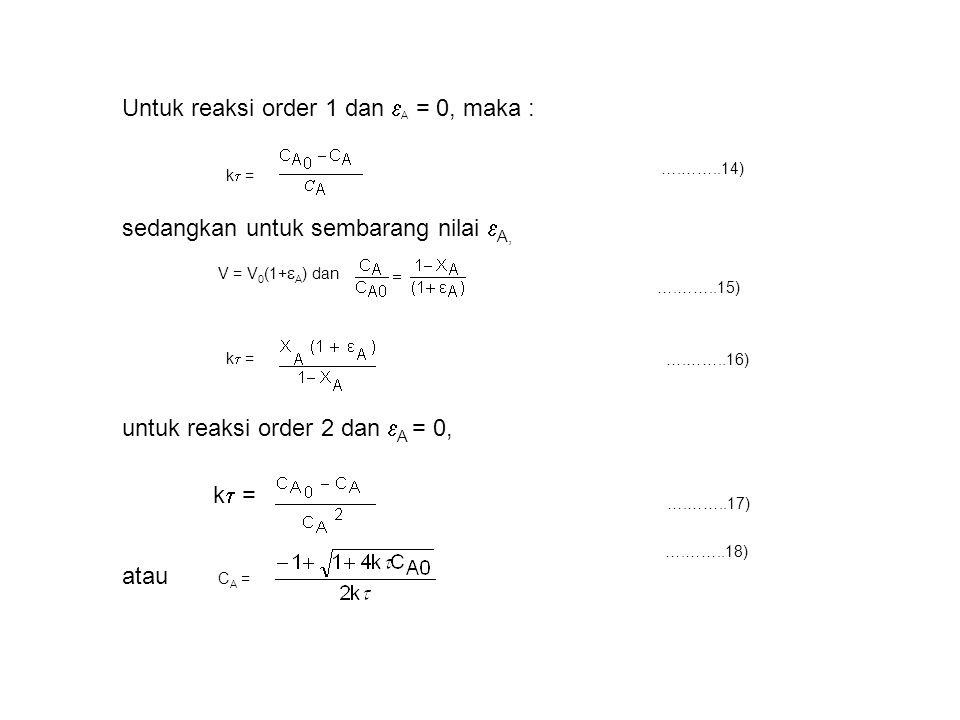 k  = ….……..14) Untuk reaksi order 1 dan  A = 0, maka : sedangkan untuk sembarang nilai  A, V = V 0 (1+  A ) dan ….……..15) k  = untuk reaksi order