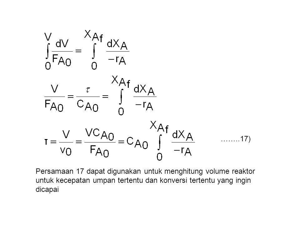 ……..17) Persamaan 17 dapat digunakan untuk menghitung volume reaktor untuk kecepatan umpan tertentu dan konversi tertentu yang ingin dicapai