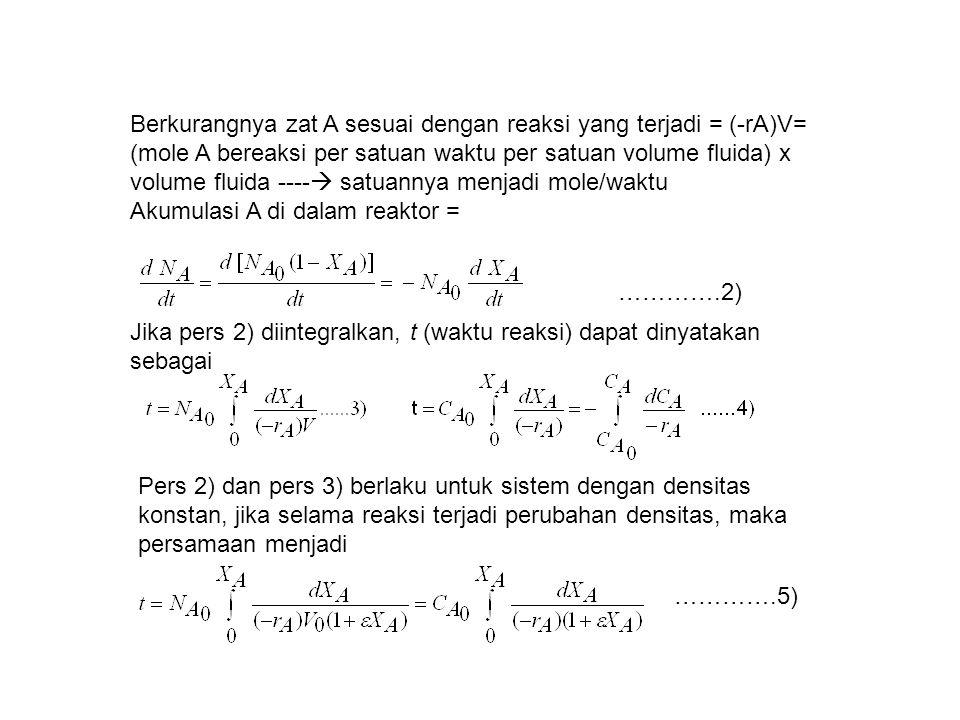 Berkurangnya zat A sesuai dengan reaksi yang terjadi = (-rA)V= (mole A bereaksi per satuan waktu per satuan volume fluida) x volume fluida ----  satu