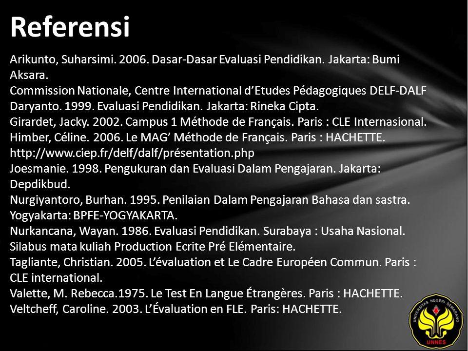 Referensi Arikunto, Suharsimi. 2006. Dasar-Dasar Evaluasi Pendidikan. Jakarta: Bumi Aksara. Commission Nationale, Centre International d'Etudes Pédago
