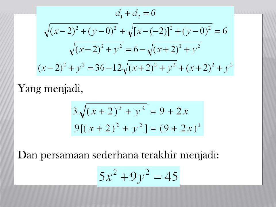 Yang menjadi, Dan persamaan sederhana terakhir menjadi: