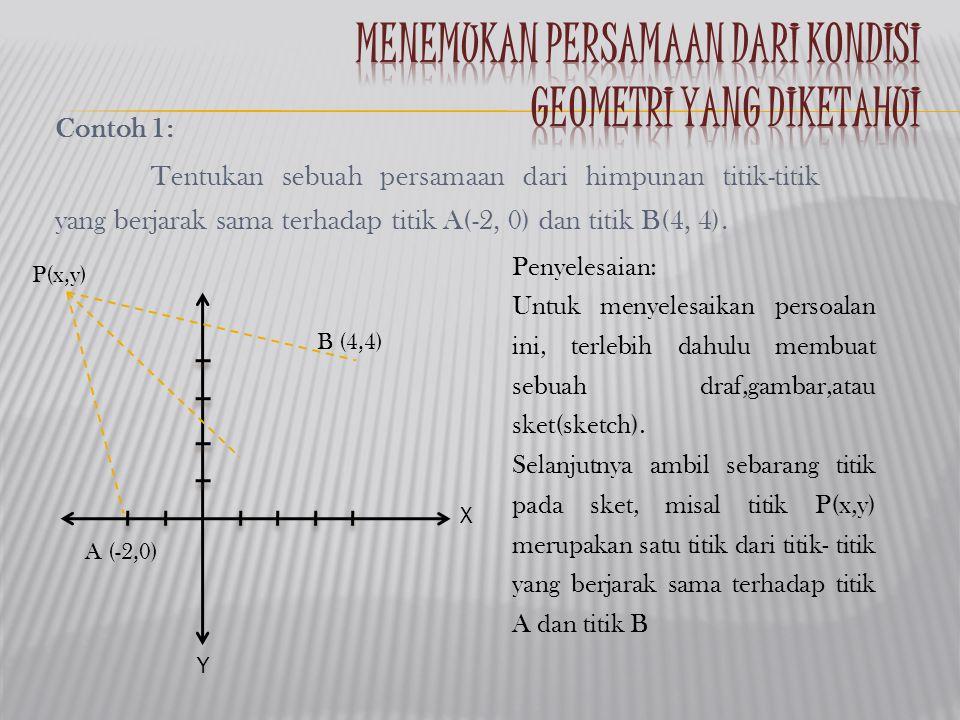 Contoh 1: Tentukan sebuah persamaan dari himpunan titik-titik yang berjarak sama terhadap titik A(-2, 0) dan titik B(4, 4). Penyelesaian: Untuk menyel