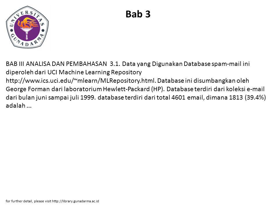 Bab 3 BAB III ANALISA DAN PEMBAHASAN 3.1. Data yang Digunakan Database spam-mail ini diperoleh dari UCI Machine Learning Repository http://www.ics.uci