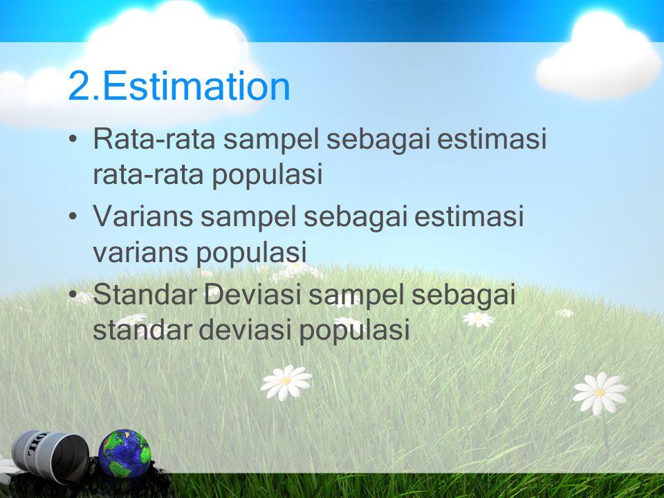 2.Estimation Rata-rata sampel sebagai estimasi rata-rata populasi Varians sampel sebagai estimasi varians populasi Standar Deviasi sampel sebagai stan