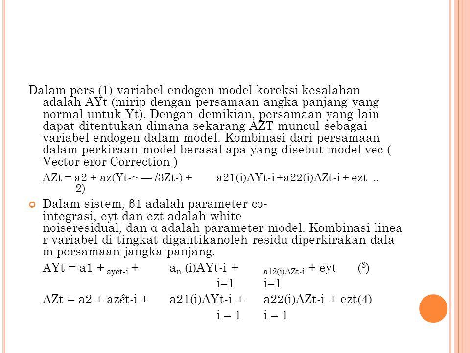 Dalam pers (1) variabel endogen model koreksi kesalahan adalah AYt (mirip dengan persamaan angka panjang yang normal untuk Yt). Dengan demikian, persa