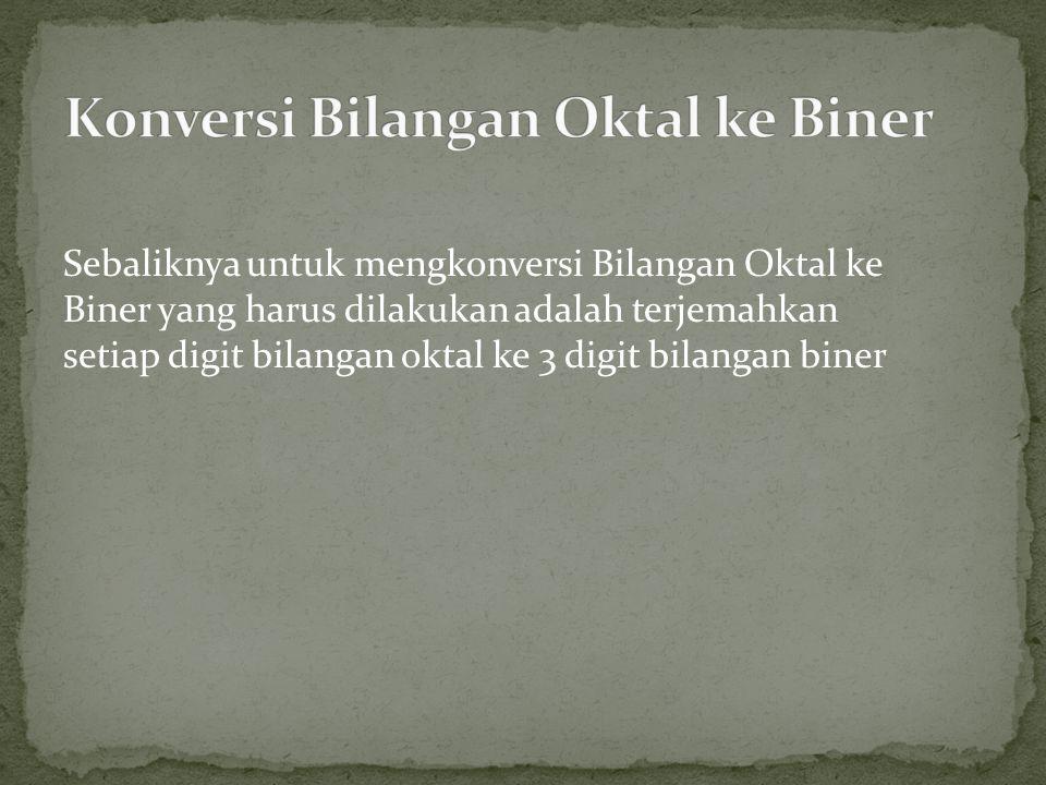 Sebaliknya untuk mengkonversi Bilangan Oktal ke Biner yang harus dilakukan adalah terjemahkan setiap digit bilangan oktal ke 3 digit bilangan biner
