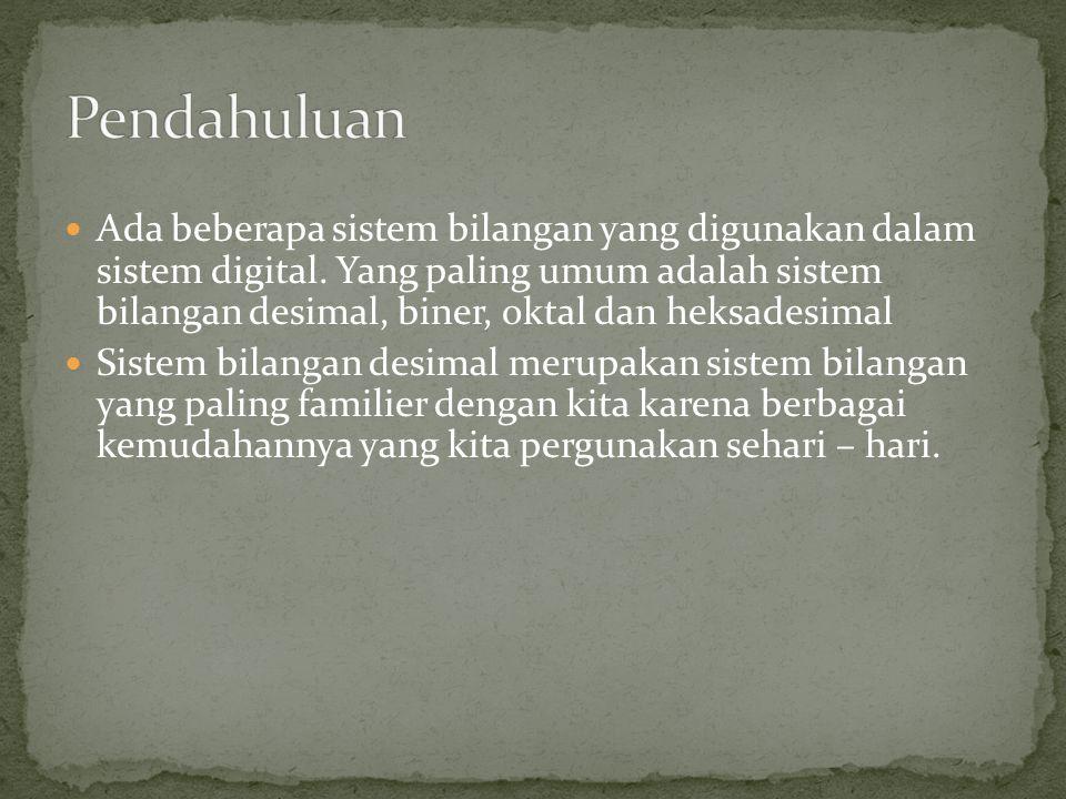 Ada beberapa sistem bilangan yang digunakan dalam sistem digital. Yang paling umum adalah sistem bilangan desimal, biner, oktal dan heksadesimal Siste