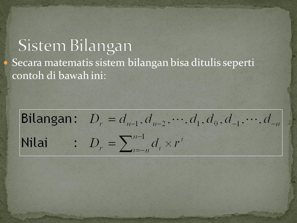Secara matematis sistem bilangan bisa ditulis seperti contoh di bawah ini: