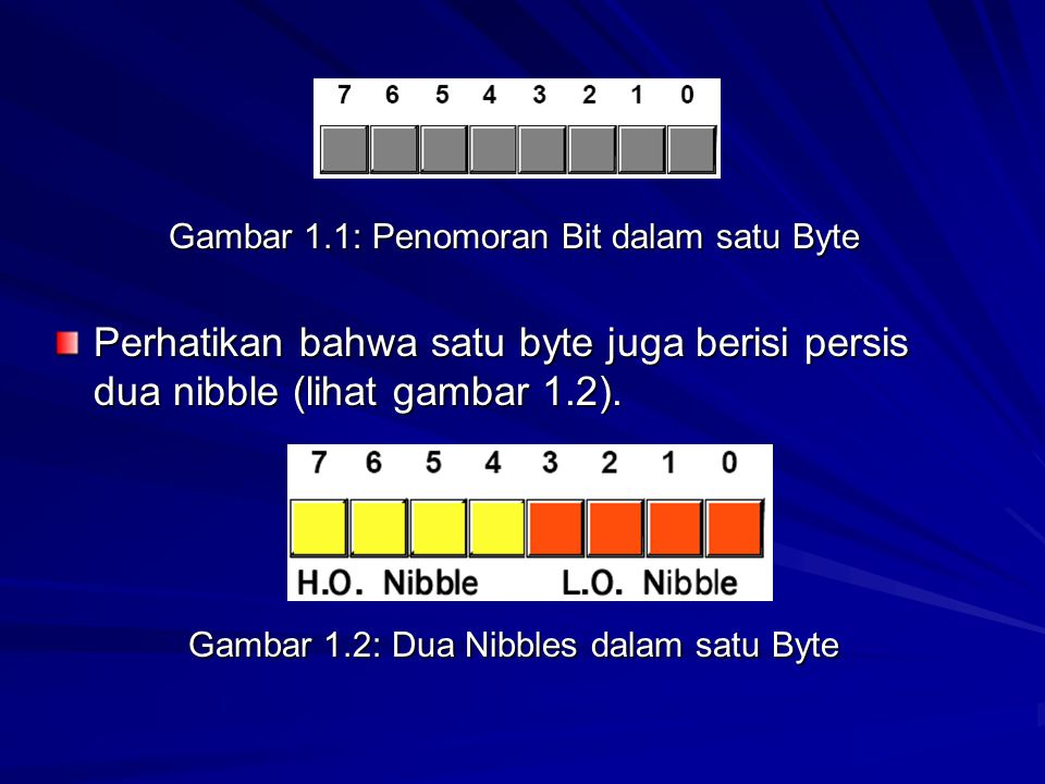 Gambar 1.1: Penomoran Bit dalam satu Byte Perhatikan bahwa satu byte juga berisi persis dua nibble (lihat gambar 1.2).