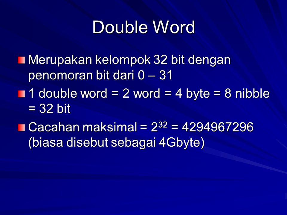 Double Word Merupakan kelompok 32 bit dengan penomoran bit dari 0 – 31 1 double word = 2 word = 4 byte = 8 nibble = 32 bit Cacahan maksimal = 2 32 = 4294967296 (biasa disebut sebagai 4Gbyte)