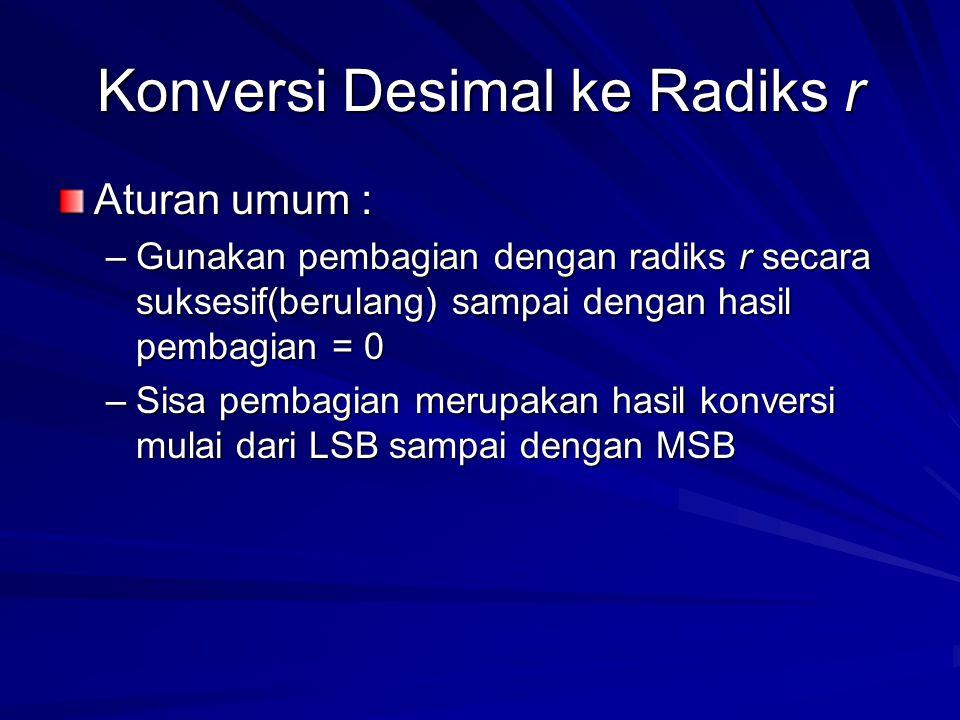 Konversi Desimal ke Radiks r Aturan umum : –Gunakan pembagian dengan radiks r secara suksesif(berulang) sampai dengan hasil pembagian = 0 –Sisa pembagian merupakan hasil konversi mulai dari LSB sampai dengan MSB