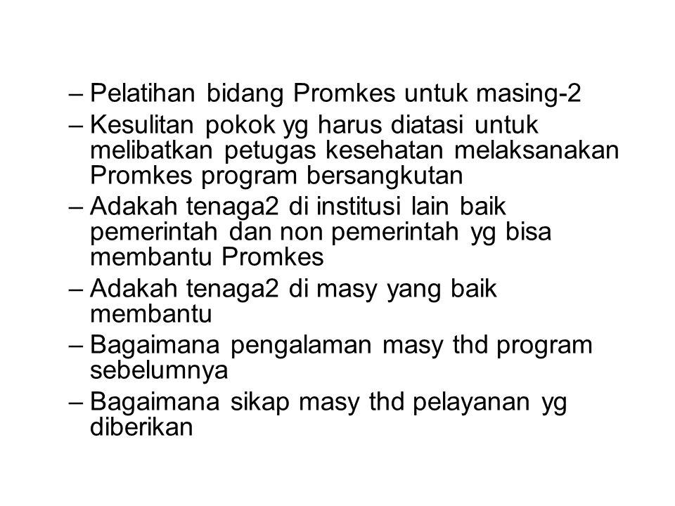 –Pelatihan bidang Promkes untuk masing-2 –Kesulitan pokok yg harus diatasi untuk melibatkan petugas kesehatan melaksanakan Promkes program bersangkuta