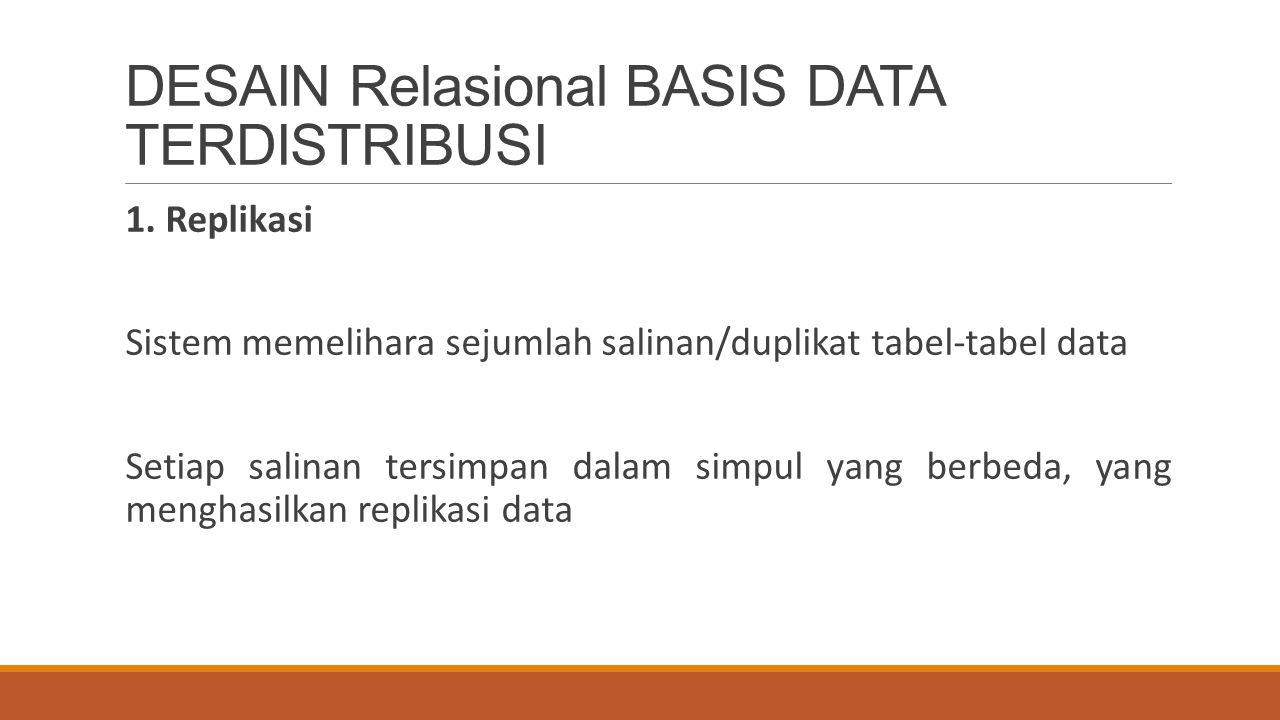DESAIN Relasional BASIS DATA TERDISTRIBUSI 1. Replikasi Sistem memelihara sejumlah salinan/duplikat tabel-tabel data Setiap salinan tersimpan dalam si