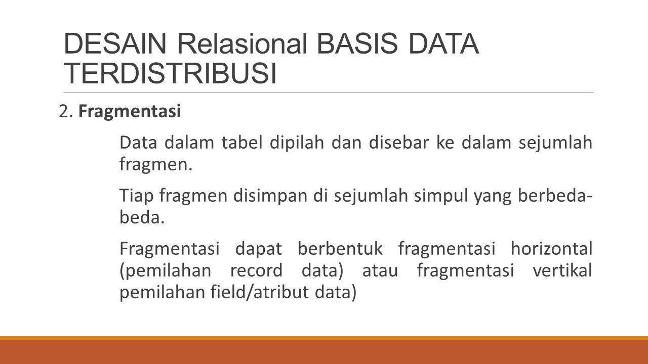 DESAIN Relasional BASIS DATA TERDISTRIBUSI 2. Fragmentasi Data dalam tabel dipilah dan disebar ke dalam sejumlah fragmen. Tiap fragmen disimpan di sej