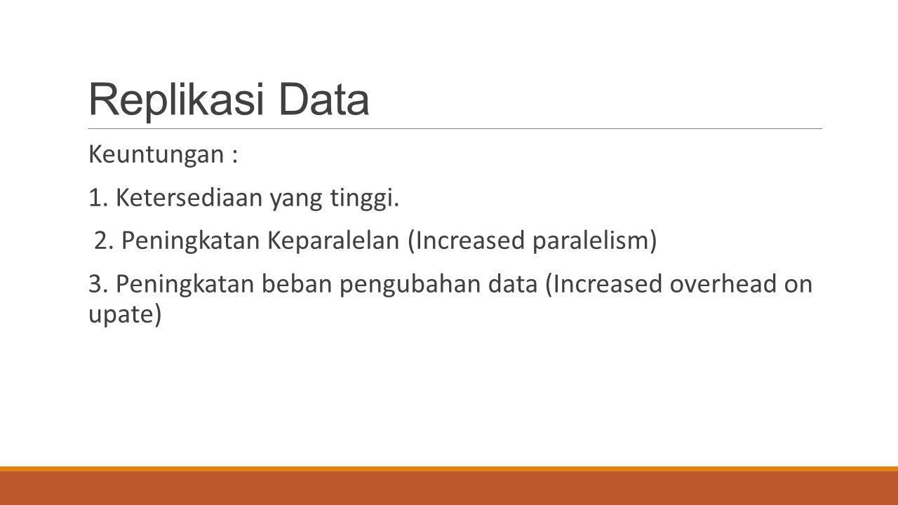 Replikasi Data Keuntungan : 1. Ketersediaan yang tinggi. 2. Peningkatan Keparalelan (Increased paralelism) 3. Peningkatan beban pengubahan data (Incre