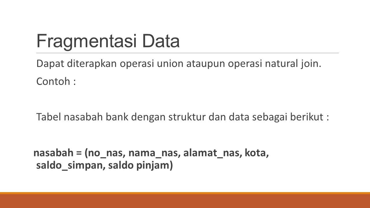 Fragmentasi Data Dapat diterapkan operasi union ataupun operasi natural join. Contoh : Tabel nasabah bank dengan struktur dan data sebagai berikut : n