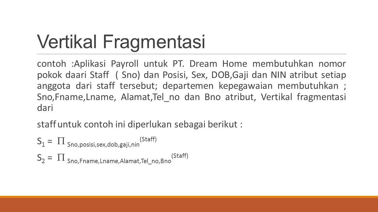Vertikal Fragmentasi contoh :Aplikasi Payroll untuk PT. Dream Home membutuhkan nomor pokok daari Staff ( Sno) dan Posisi, Sex, DOB,Gaji dan NIN atribu