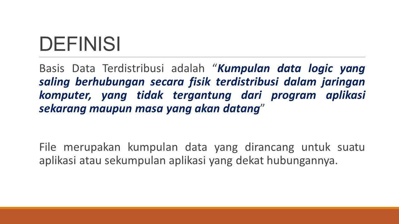 Contoh Basis Data Terdistribusi Misalnya : Sebuah bank yang memiliki banyak cabang, bahkan di sebuah kota bisa terdiri dari beberapa cabang/kantor.