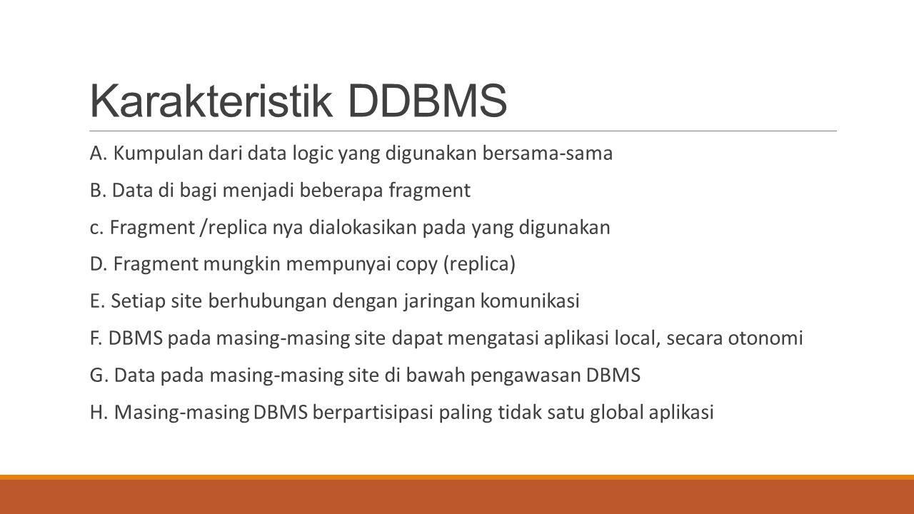 Karakteristik DDBMS A. Kumpulan dari data logic yang digunakan bersama-sama B. Data di bagi menjadi beberapa fragment c. Fragment /replica nya dialoka