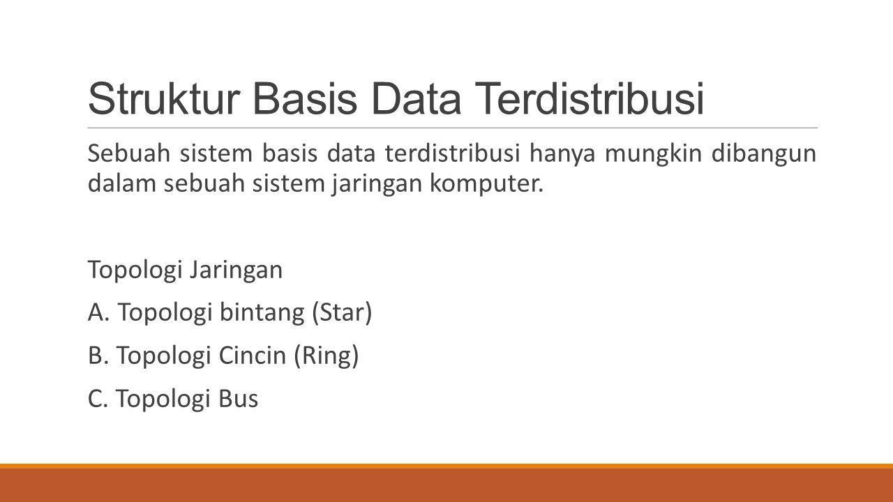 Struktur Basis Data Terdistribusi Sebuah sistem basis data terdistribusi hanya mungkin dibangun dalam sebuah sistem jaringan komputer. Topologi Jaring