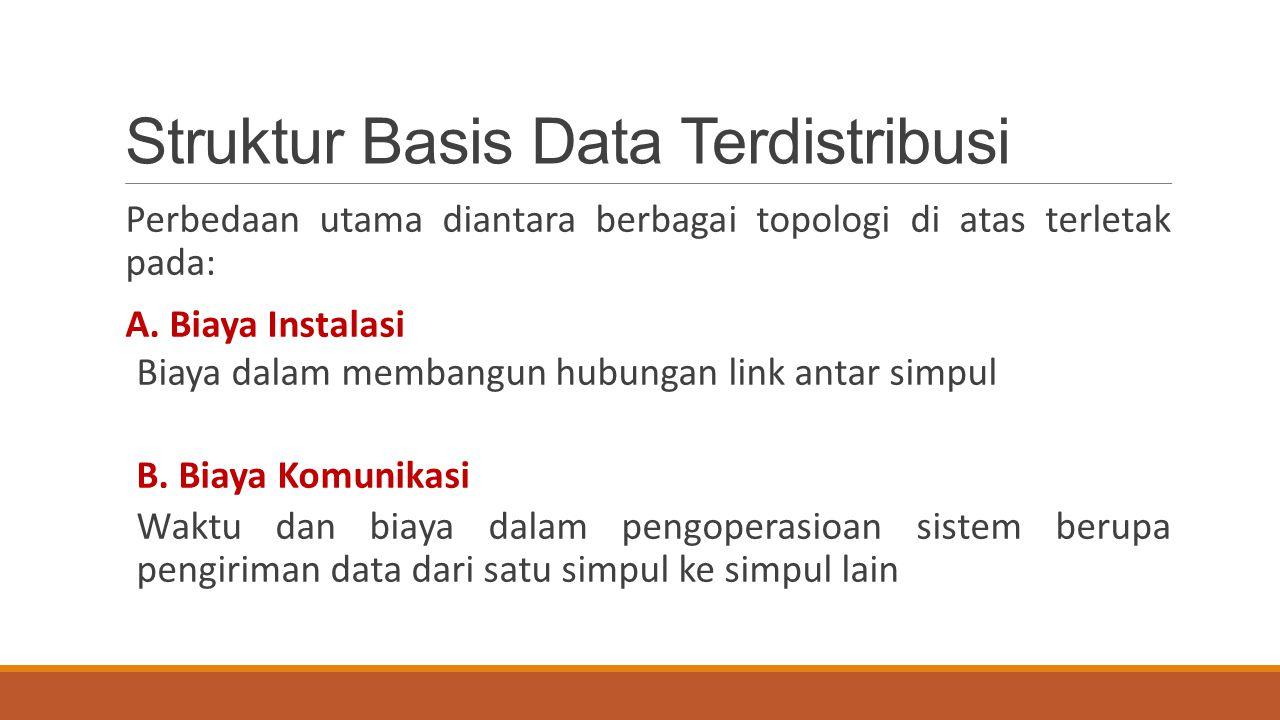 Struktur Basis Data Terdistribusi Perbedaan utama diantara berbagai topologi di atas terletak pada: A. Biaya Instalasi Biaya dalam membangun hubungan