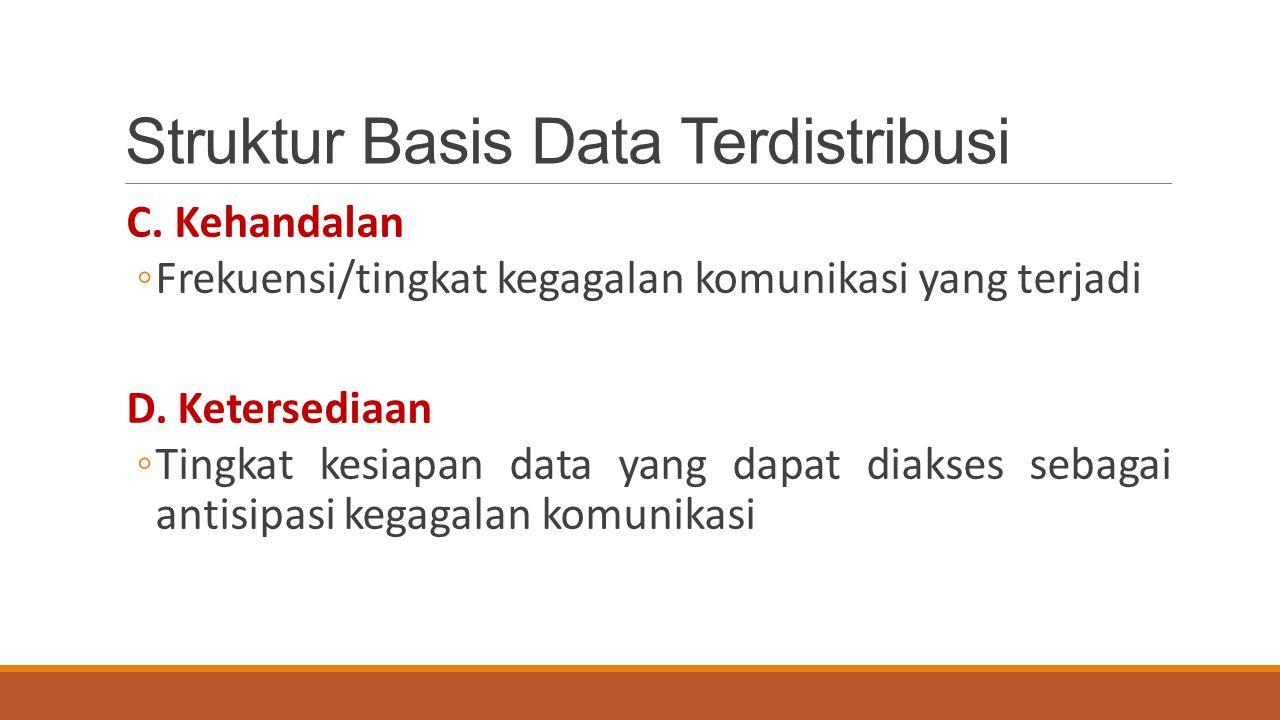 Struktur Basis Data Terdistribusi C. Kehandalan ◦Frekuensi/tingkat kegagalan komunikasi yang terjadi D. Ketersediaan ◦Tingkat kesiapan data yang dapat