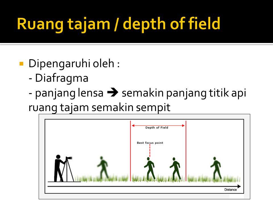  Dipengaruhi oleh : - Diafragma - panjang lensa  semakin panjang titik api ruang tajam semakin sempit