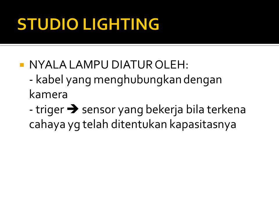  NYALA LAMPU DIATUR OLEH: - kabel yang menghubungkan dengan kamera - triger  sensor yang bekerja bila terkena cahaya yg telah ditentukan kapasitasny
