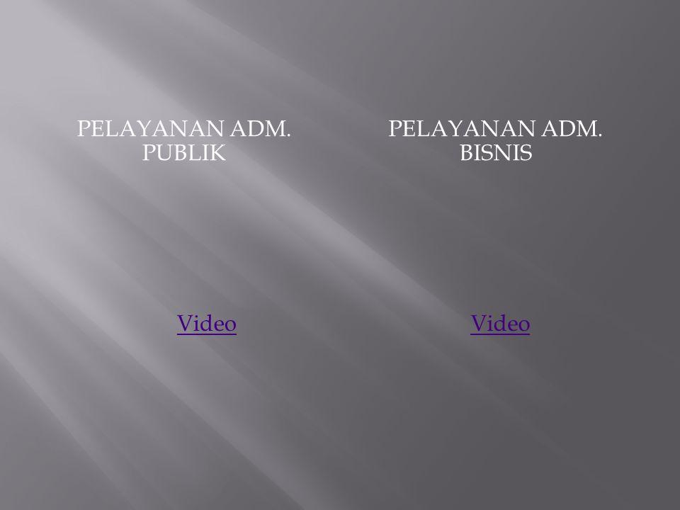 PELAYANAN ADM. PUBLIK PELAYANAN ADM. BISNIS Video