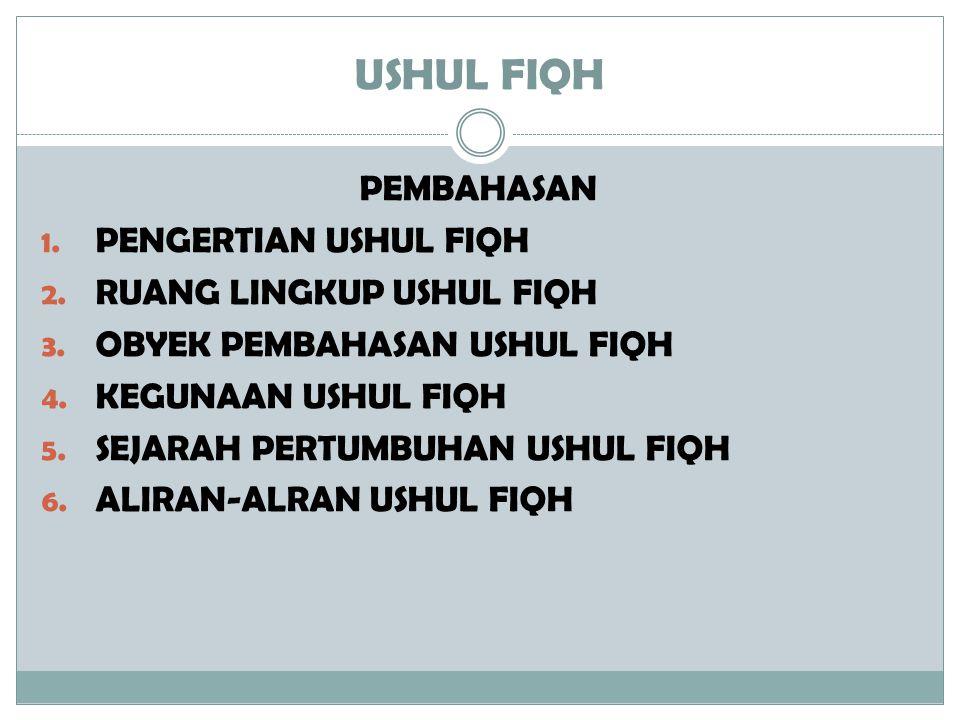 USHUL FIQH PEMBAHASAN 1. PENGERTIAN USHUL FIQH 2. RUANG LINGKUP USHUL FIQH 3. OBYEK PEMBAHASAN USHUL FIQH 4. KEGUNAAN USHUL FIQH 5. SEJARAH PERTUMBUHA