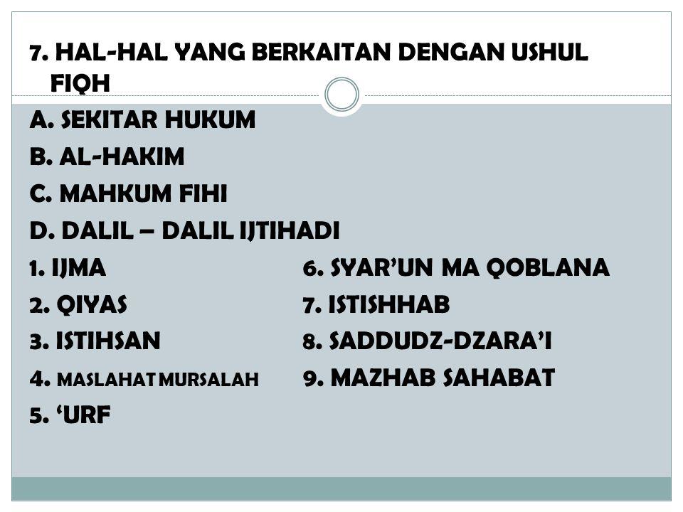 7. HAL-HAL YANG BERKAITAN DENGAN USHUL FIQH A. SEKITAR HUKUM B. AL-HAKIM C. MAHKUM FIHI D. DALIL – DALIL IJTIHADI 1. IJMA 6. SYAR'UN MA QOBLANA 2. QIY