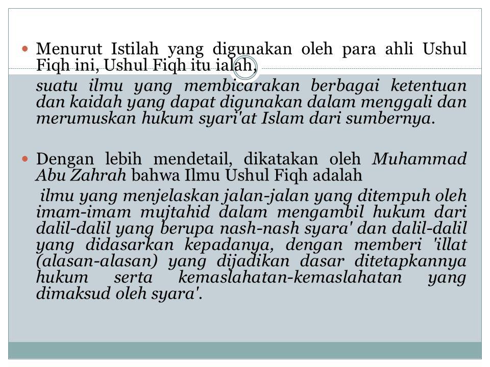 Menurut Istilah yang digunakan oleh para ahli Ushul Fiqh ini, Ushul Fiqh itu ialah, suatu ilmu yang membicarakan berbagai ketentuan dan kaidah yang dapat digunakan dalam menggali dan merumuskan hukum syari at Islam dari sumbernya.