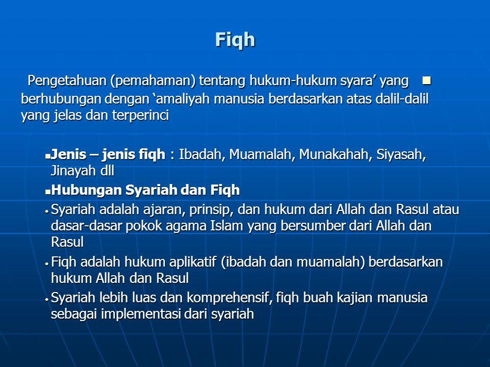 Fiqh Pengetahuan (pemahaman) tentang hukum-hukum syara' yang berhubungan dengan 'amaliyah manusia berdasarkan atas dalil-dalil yang jelas dan terperinci Pengetahuan (pemahaman) tentang hukum-hukum syara' yang berhubungan dengan 'amaliyah manusia berdasarkan atas dalil-dalil yang jelas dan terperinci Jenis – jenis fiqh : Ibadah, Muamalah, Munakahah, Siyasah, Jinayah dll Jenis – jenis fiqh : Ibadah, Muamalah, Munakahah, Siyasah, Jinayah dll Hubungan Syariah dan Fiqh Hubungan Syariah dan Fiqh Syariah adalah ajaran, prinsip, dan hukum dari Allah dan Rasul atau dasar-dasar pokok agama Islam yang bersumber dari Allah dan Rasul Syariah adalah ajaran, prinsip, dan hukum dari Allah dan Rasul atau dasar-dasar pokok agama Islam yang bersumber dari Allah dan Rasul Fiqh adalah hukum aplikatif (ibadah dan muamalah) berdasarkan hukum Allah dan Rasul Fiqh adalah hukum aplikatif (ibadah dan muamalah) berdasarkan hukum Allah dan Rasul Syariah lebih luas dan komprehensif, fiqh buah kajian manusia sebagai implementasi dari syariah Syariah lebih luas dan komprehensif, fiqh buah kajian manusia sebagai implementasi dari syariah