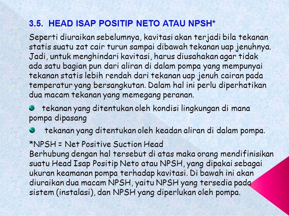 e)Bila head total pompa sangat berfluktuasi, maka pada keadaan terendah head harus diadakan pengamanan penuh terhadap terjadinya kavitasi.